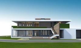 het 3D teruggeven van huis met het knippen van weg Stock Afbeeldingen