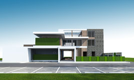 het 3D teruggeven van huis met het knippen van weg Stock Foto