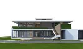 het 3D teruggeven van huis op wit met het knippen van weg wordt geïsoleerd die Stock Afbeeldingen