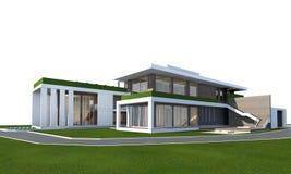 het 3D teruggeven van huis op wit met het knippen van weg wordt geïsoleerd die Stock Foto