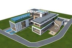 het 3D teruggeven van huis op wit met het knippen van weg wordt geïsoleerd die Stock Fotografie