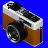 het 3d teruggeven van isometrische oude retro uitstekende die camera op a wordt geïsoleerd Stock Foto