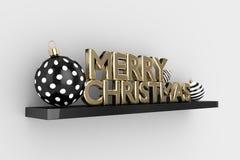 het 3d teruggeven van Kerstmissnuisterijen en vrolijke Kerstmisteksten Royalty-vrije Stock Fotografie