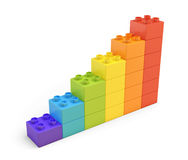het 3d teruggeven van kleurrijke treden die van vele bakstenen op witte achtergrond worden gemaakt Stock Foto's