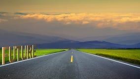 het 3d teruggeven van lange weg in bergen, panoramisch beeld, Taiwan Stock Afbeeldingen