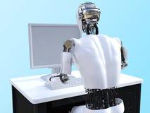 het 3D teruggeven van mannelijke robotzitting bij computer Stock Foto's
