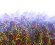 het 3d teruggeven van mening van rokerige heuvel in de herfst Bos landschap Royalty-vrije Stock Afbeelding