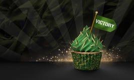 het 3D Teruggeven van Militaire Stijl Cupcake Royalty-vrije Stock Foto