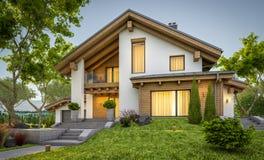 het 3d teruggeven van modern comfortabel huis in chaletstijl stock fotografie