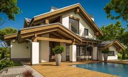 het 3d teruggeven van modern comfortabel huis in chaletstijl royalty-vrije stock foto
