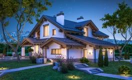 het 3d teruggeven van modern comfortabel huis in chaletstijl stock illustratie