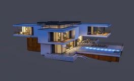 het 3d teruggeven van modern die huis bij nacht op grijs wordt geïsoleerd Stock Foto