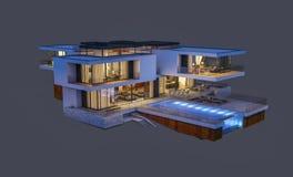 het 3d teruggeven van modern die huis bij nacht op grijs wordt geïsoleerd Royalty-vrije Stock Afbeelding