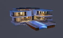 het 3d teruggeven van modern die huis bij nacht op grijs wordt geïsoleerd Stock Fotografie