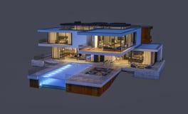 het 3d teruggeven van modern die huis bij nacht op grijs wordt geïsoleerd Stock Foto's