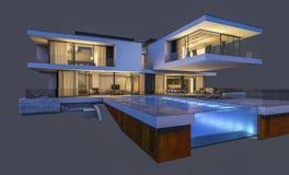 het 3d teruggeven van modern die huis bij nacht op grijs wordt geïsoleerd Royalty-vrije Stock Fotografie
