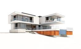 het 3d teruggeven van modern die huis op wit wordt geïsoleerd Royalty-vrije Stock Afbeeldingen