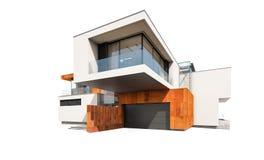 het 3d teruggeven van modern die huis op wit wordt geïsoleerd Royalty-vrije Stock Fotografie