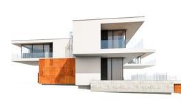 het 3d teruggeven van modern die huis op wit wordt geïsoleerd Stock Fotografie