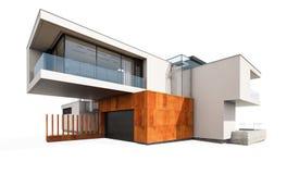 het 3d teruggeven van modern die huis op wit wordt geïsoleerd Royalty-vrije Stock Foto