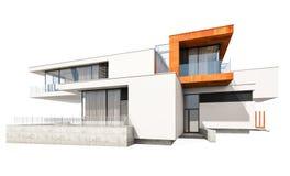 het 3d teruggeven van modern die huis op wit wordt geïsoleerd Stock Foto's