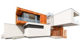 het 3d teruggeven van modern die huis op wit wordt geïsoleerd Stock Afbeelding
