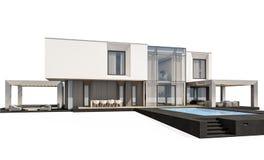 het 3d teruggeven van modern die huis op wit wordt geïsoleerd Stock Afbeeldingen