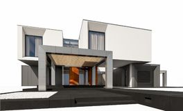 het 3d teruggeven van modern die huis op wit wordt geïsoleerd Stock Foto