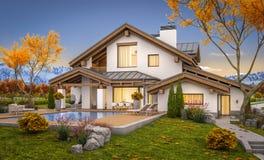 het 3d teruggeven van modern huis in de avondherfst royalty-vrije stock foto