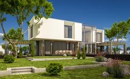 het 3d teruggeven van modern huis in de tuin Royalty-vrije Stock Foto's