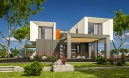 het 3d teruggeven van modern huis in de tuin Stock Afbeelding