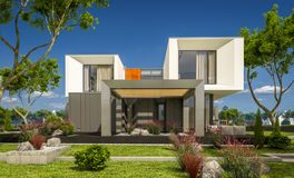 het 3d teruggeven van modern huis in de tuin Royalty-vrije Stock Fotografie