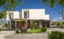 het 3d teruggeven van modern huis in de tuin Stock Foto's