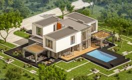 het 3d teruggeven van modern huis in de tuin Stock Afbeeldingen