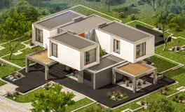 het 3d teruggeven van modern huis in de tuin Royalty-vrije Stock Afbeelding