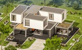 het 3d teruggeven van modern huis in de tuin Stock Fotografie
