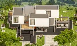 het 3d teruggeven van modern huis in de tuin Stock Foto