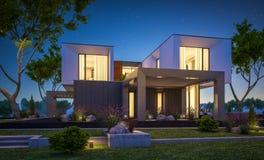 het 3d teruggeven van modern huis in de tuin bij nacht Royalty-vrije Stock Foto's