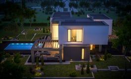het 3d teruggeven van modern huis in de tuin bij nacht Stock Afbeeldingen