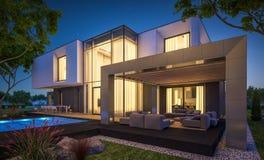 het 3d teruggeven van modern huis in de tuin bij nacht Stock Foto