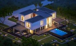 het 3d teruggeven van modern huis in de tuin bij nacht Stock Fotografie