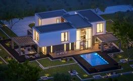 het 3d teruggeven van modern huis in de tuin bij nacht Stock Foto's