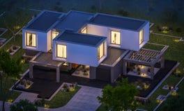 het 3d teruggeven van modern huis in de tuin bij nacht Royalty-vrije Stock Fotografie