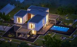 het 3d teruggeven van modern huis in de tuin bij nacht Royalty-vrije Stock Afbeelding