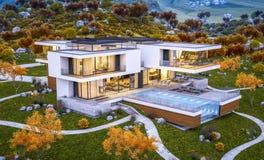 het 3d teruggeven van modern huis door de avondwi van de rivier koele herfst royalty-vrije stock foto