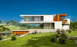 het 3d teruggeven van modern huis door de rivier Royalty-vrije Stock Afbeelding