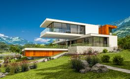 het 3d teruggeven van modern huis door de rivier Royalty-vrije Stock Foto's
