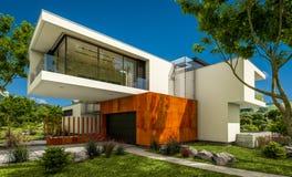 het 3d teruggeven van modern huis door de rivier Royalty-vrije Stock Afbeeldingen