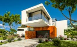 het 3d teruggeven van modern huis door de rivier Stock Foto