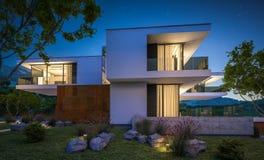 het 3d teruggeven van modern huis door de rivier Stock Afbeelding